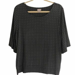 Chico's Black And White Short Sleeve Top